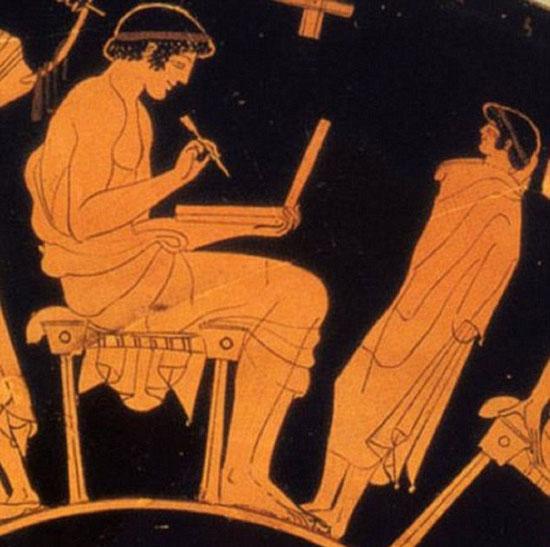 جدارية يونانية من 2100 سنة لخادمة تحمل لاب توب (3)