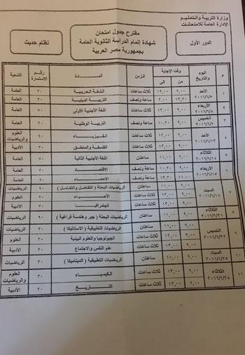 مقترح جدول شهادة اتمام الدراسة الثانوية العامة بجمهورية مصر التعليمية
