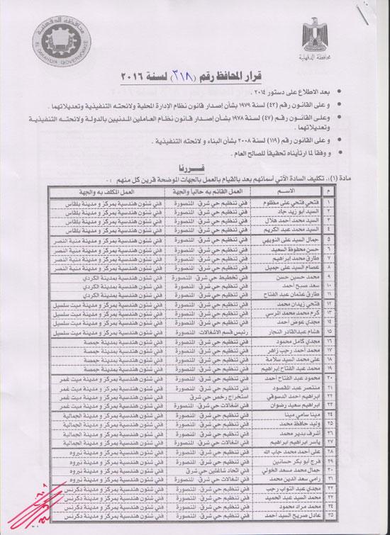 محافظ الدقهلية يقرر نقل 79 فنيا بـ11 إدارة هندسية إلى أماكن مختلفة (1)