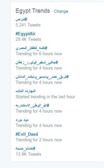 هاشتاجات اختطاف طائرة مصر للطيران (1)