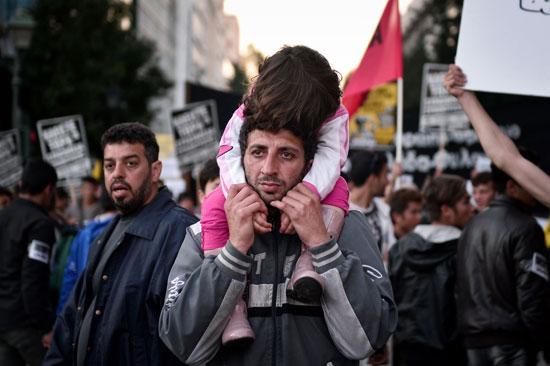 مهاجرون ولاجئون يتظاهرون فى أثينا ضد الاتفاق الأوروبى-التركى (4)