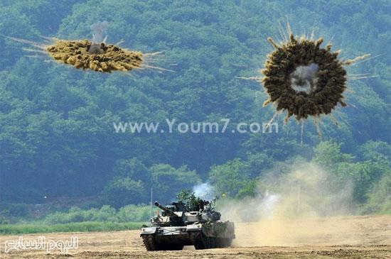 إطلاق القذائف من إحدى الدبابات  -اليوم السابع -4 -2015