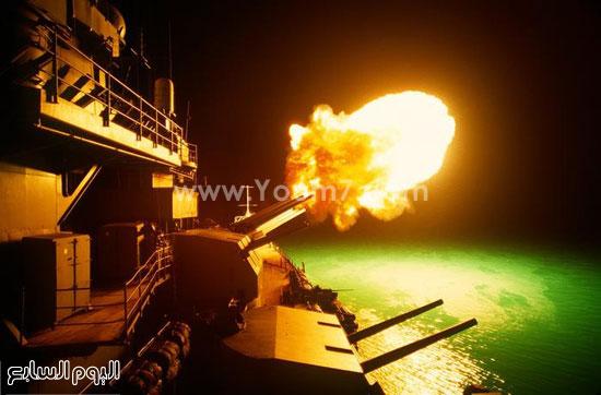 سفينة حربية تقوم بإطلاق النيران  -اليوم السابع -4 -2015