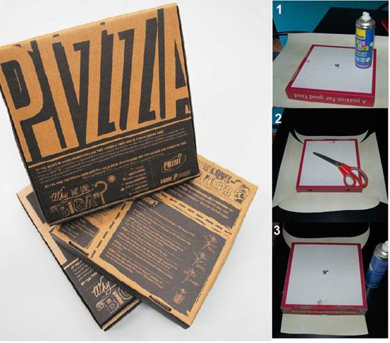 ديكورات من لوحات و اشكال من علب البيتزا 4201519148511