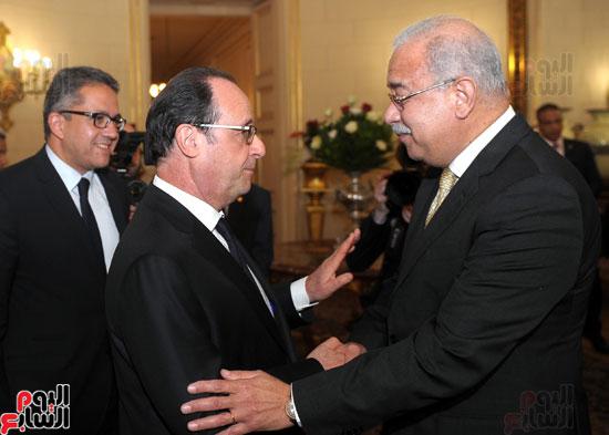 المهندس شريف اسماعيل رئيس الوزراء و الرئيس الفرنسى فرانسوا هولاند (1)