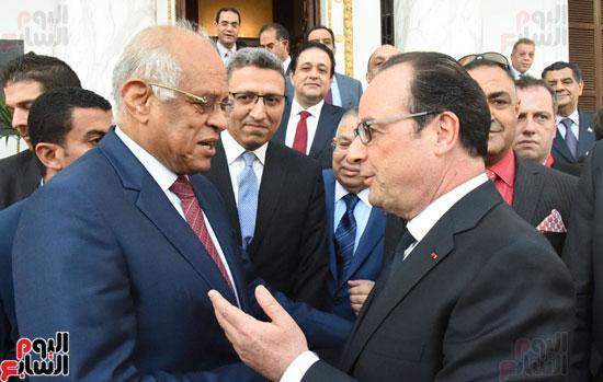 الرئيس الفرنسى يزور مقر مجلس النواب وعلى عبد العال فى استقباله (2)
