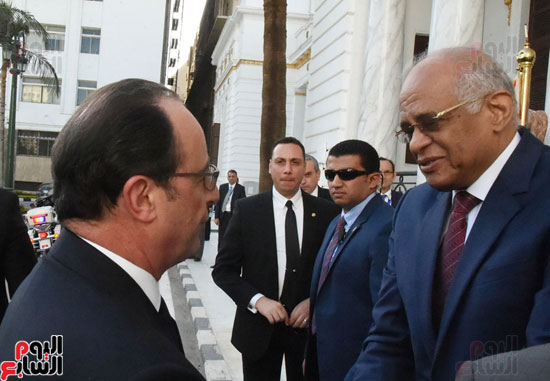 الرئيس الفرنسى يزور مقر مجلس النواب وعلى عبد العال فى استقباله (4)