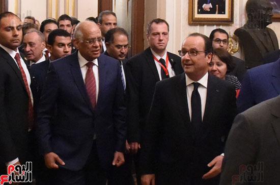الرئيس الفرنسى يزور مقر مجلس النواب وعلى عبد العال فى استقباله (18)