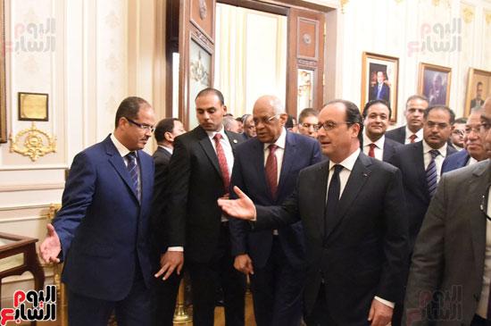 الرئيس الفرنسى يزور مقر مجلس النواب وعلى عبد العال فى استقباله (20)