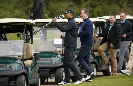 اوباما ، ديفيد كاميرون ، بريطانيا ، امريكا ، الاتحاد الاوروبى ، جولف ، مباراة جولف (1)