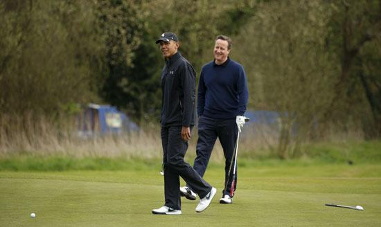 اوباما ، ديفيد كاميرون ، بريطانيا ، امريكا ، الاتحاد الاوروبى ، جولف ، مباراة جولف (11)