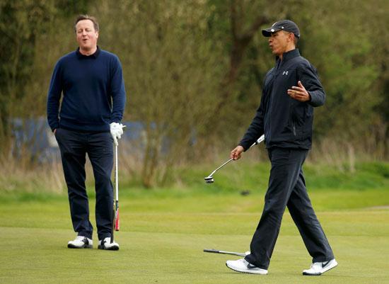 اوباما ، ديفيد كاميرون ، بريطانيا ، امريكا ، الاتحاد الاوروبى ، جولف ، مباراة جولف (2)