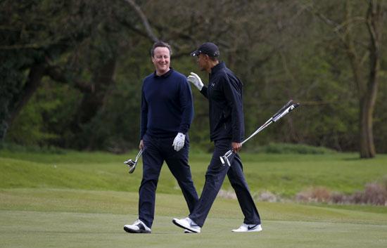 اوباما ، ديفيد كاميرون ، بريطانيا ، امريكا ، الاتحاد الاوروبى ، جولف ، مباراة جولف (4)