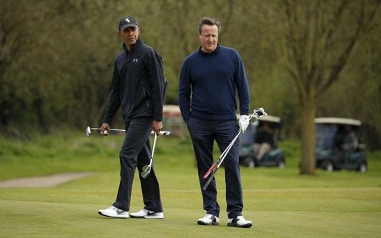 اوباما ، ديفيد كاميرون ، بريطانيا ، امريكا ، الاتحاد الاوروبى ، جولف ، مباراة جولف (5)