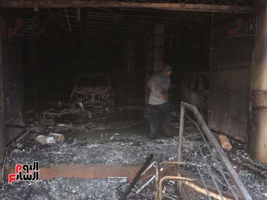 حريق معرض السيارات فيصل الهرم معرض سيارات مطافى (4)