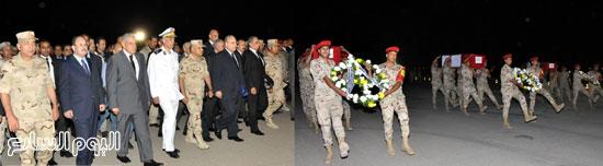 رجال الشرطة العسكرية يحملون جثامين شهداء القضاء المصرى -اليوم السابع -5 -2015