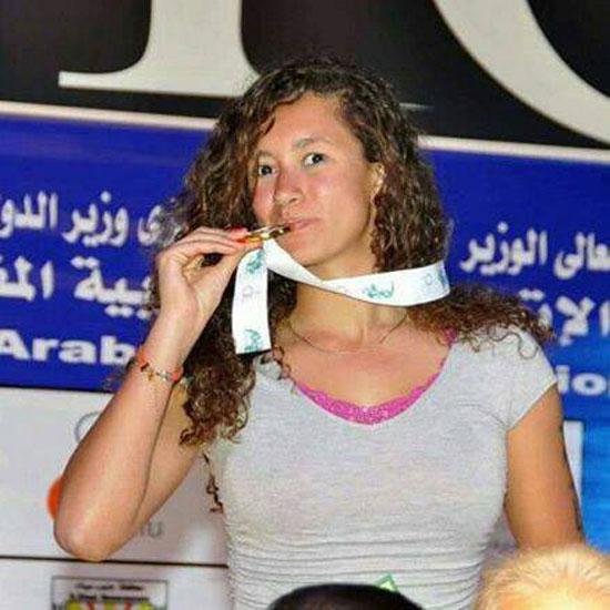 فاطمة هجرس بعد الفوز بذهبية البطولة العربية  -اليوم السابع -5 -2015