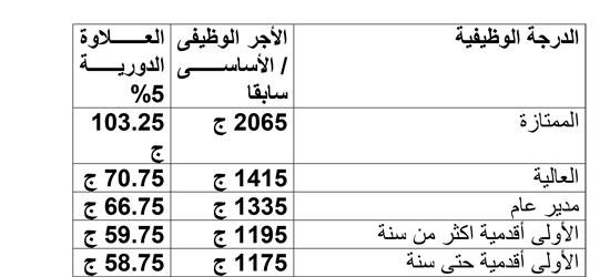 قيمة العلاوة الدورية لموظفى الحكومة وفقا للدرجة الوظيفية 5201561739771