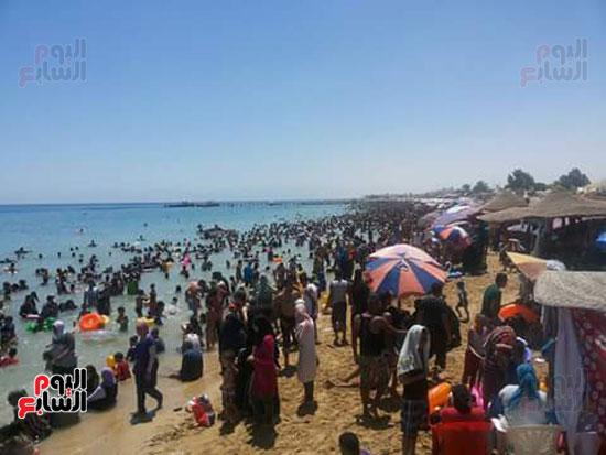 المواطنون يهربون من حرارة الجو لشواطئ السخنة (4)
