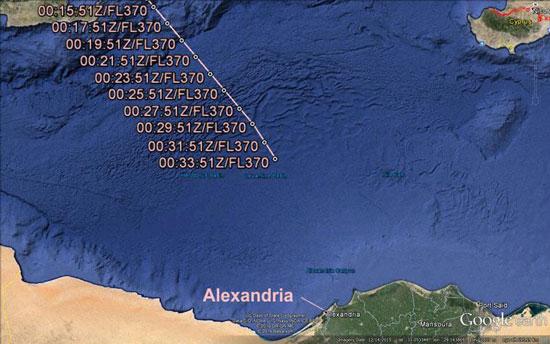 موقع اختفاء الطائرة إيرباص 320A التابعة لـمصر للطيران (2)