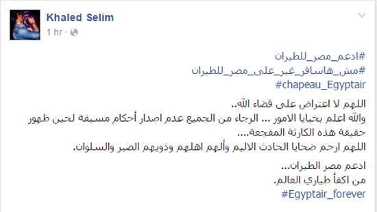 فنانون وإعلاميون يواصلون دعم شركة مصر للطيران (3)