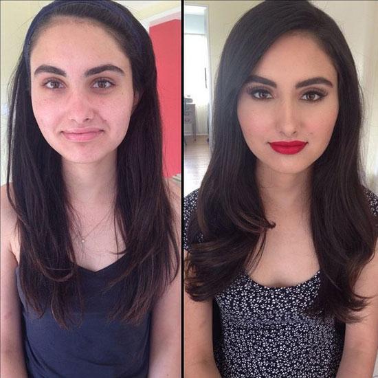 فتاة تظهر مختلفة بعد وضع المكياج على وجهها -اليوم السابع -6 -2015