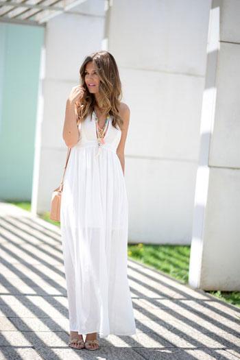 فستان طويل أبيض لأوقات النهار -اليوم السابع -6 -2015