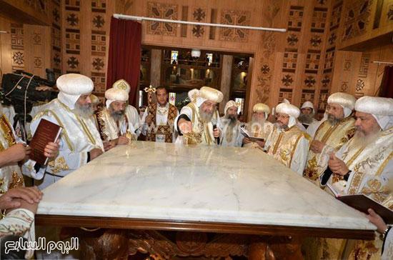 البابا خلال تدشين الكنيسة -اليوم السابع -6 -2015