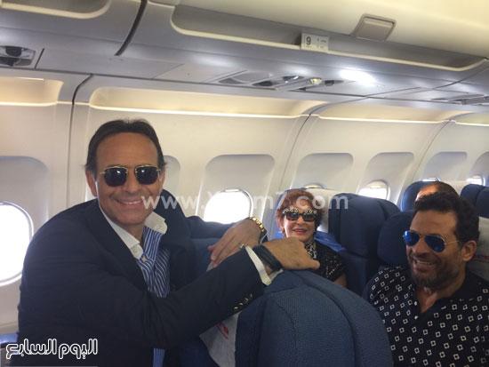 ماجد المصرى ولبلبة وممدوح عبد العليم على متن الطائرة -اليوم السابع -6 -2015