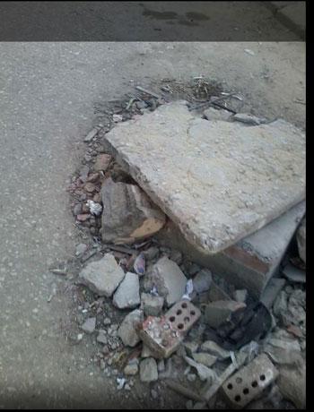 بالوعة صرف فى وسط الطريق -اليوم السابع -6 -2015