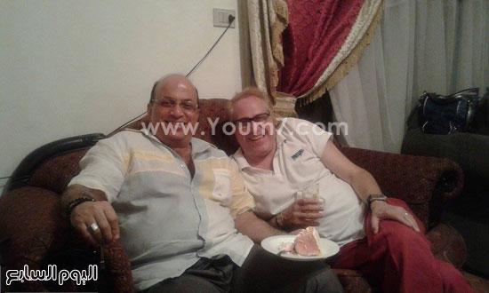 السيناريست محمد الباسوسى خلال الاحتفال بعيد ميلاد مازن السماحى -اليوم السابع -6 -2015