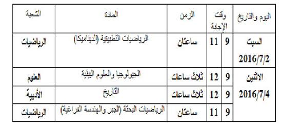 جدول الامتحانات المؤجله