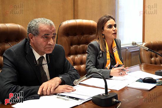 سحر نصر وزيرة التعاون الدولي وعلى مصيلحي رئيس اللجنة الاقتصادية