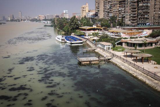 نهر النيل يكتسى باللون الأصفر لون مياه السيول