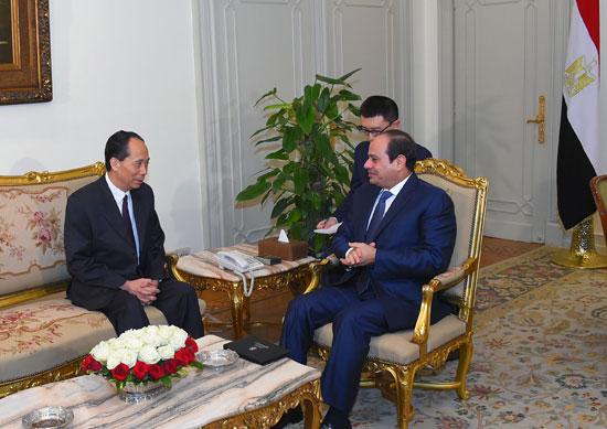 الرئيس السيسي يستقبل نائب رئيس اللجنة الدائمة للمجلس الوطني لنواب الشعب الصيني