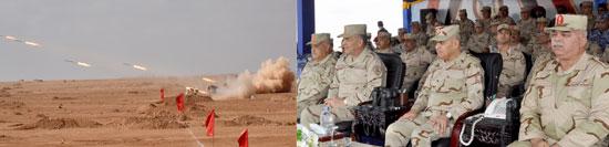 الفريق أول صدقى صبحى يشهد أكبر مناوره بالذخيرة الحية على الحدود الغربية