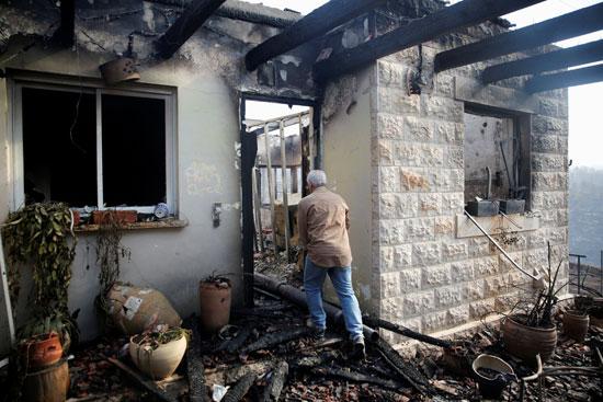 منزل إسرائيلى محترق