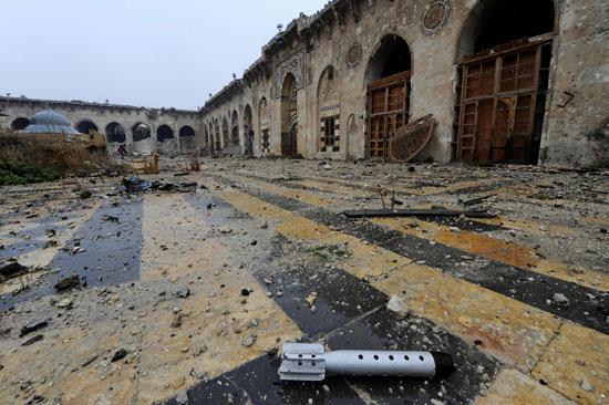 بقايا الصواريخ فى المسجد