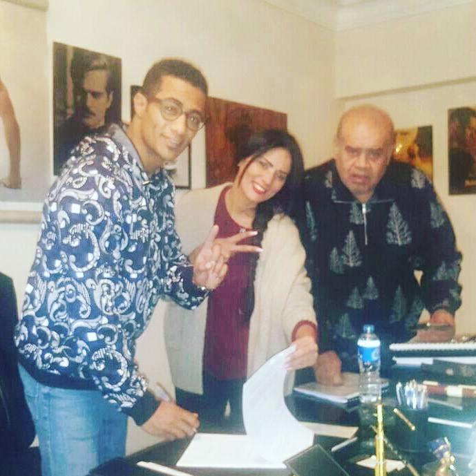 محمد رمضان والمنتجة أمل عبد الحميد والمخرج حسين ابراهيم