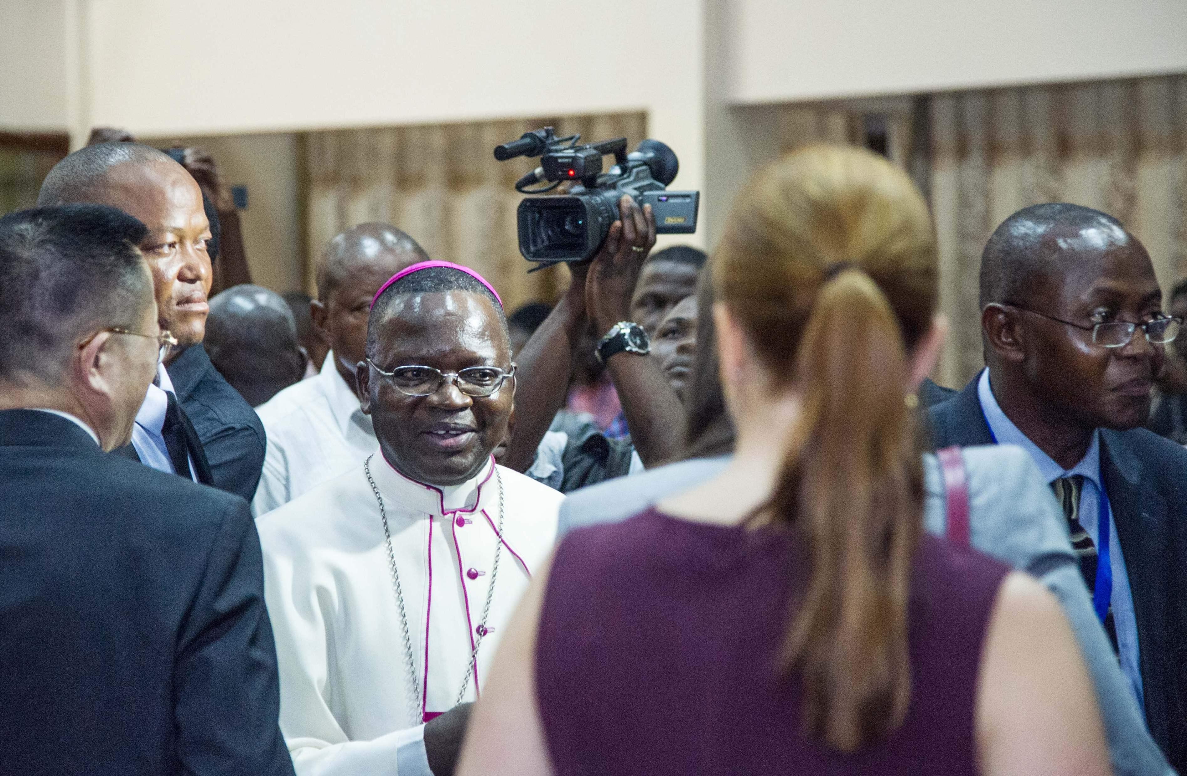 رئيس الاسقفية الكونغولية مارسل يوتيمبى بعد المباحثات