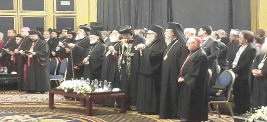 البابا خلال اجتماع مجلس كنائس الشرق الاوسط فى الأردن