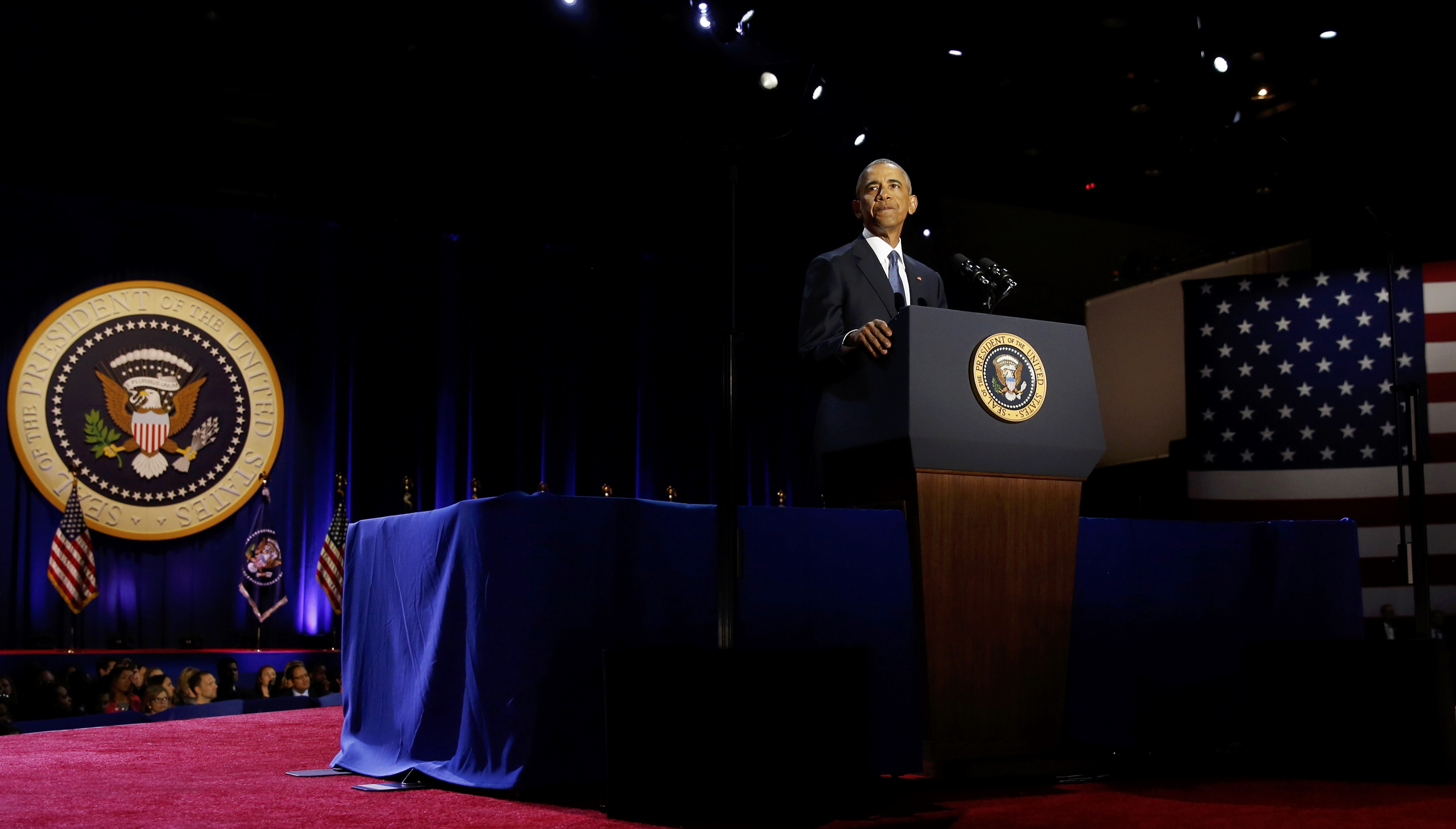 أوباما أثناء كلمته الأخيرة