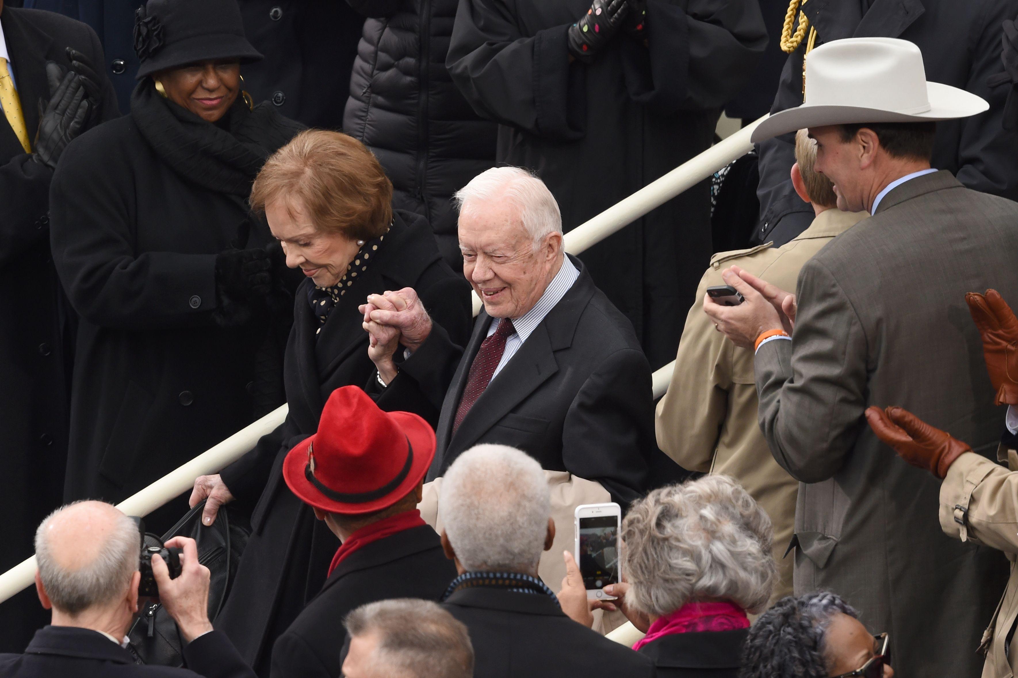 الرئيس الأسبق جيمى كارتر لدى وصوله مراسم التنصيب