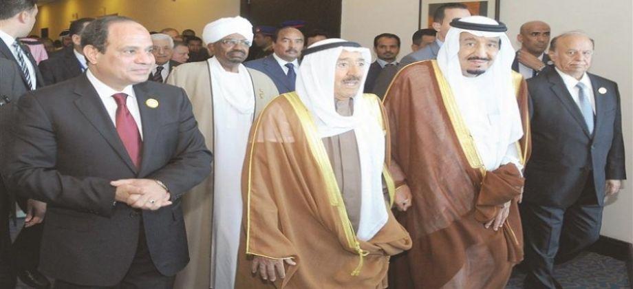 الرئيس السيسى والعاهل السعودى وأمير الكويت فى لقاء سابق