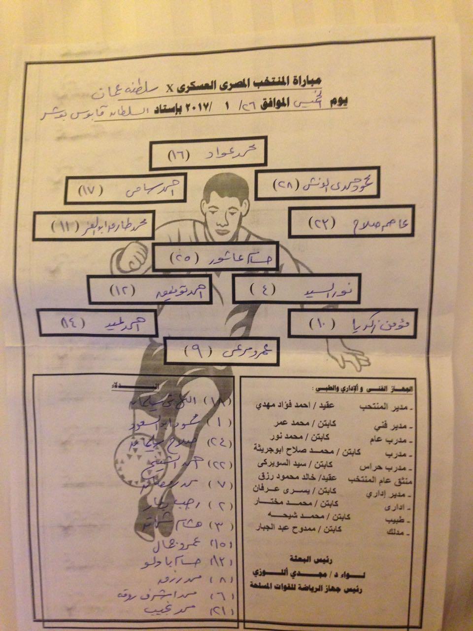 تشكيلة منتخب مصر امام عمان