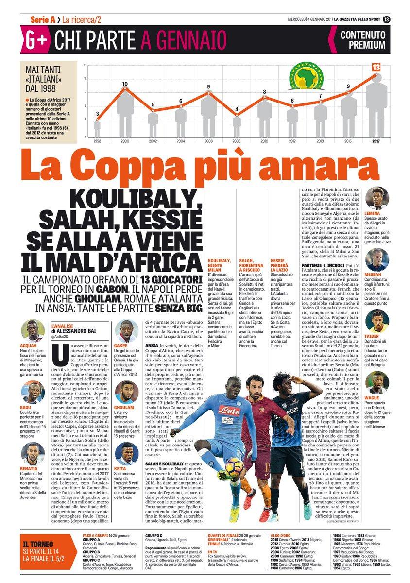 صحيفة لاجازيتا الايطالية تتحدث عن الغيابات بسبب أمم أفريقيا