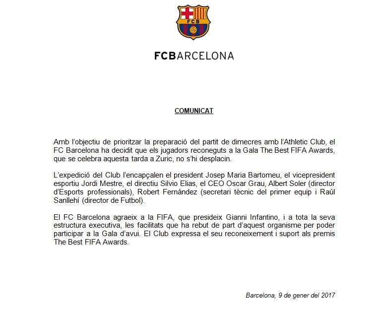بيان برشلونة الرسمى