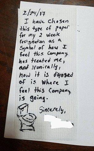 استقالة على ورق تواليتتت