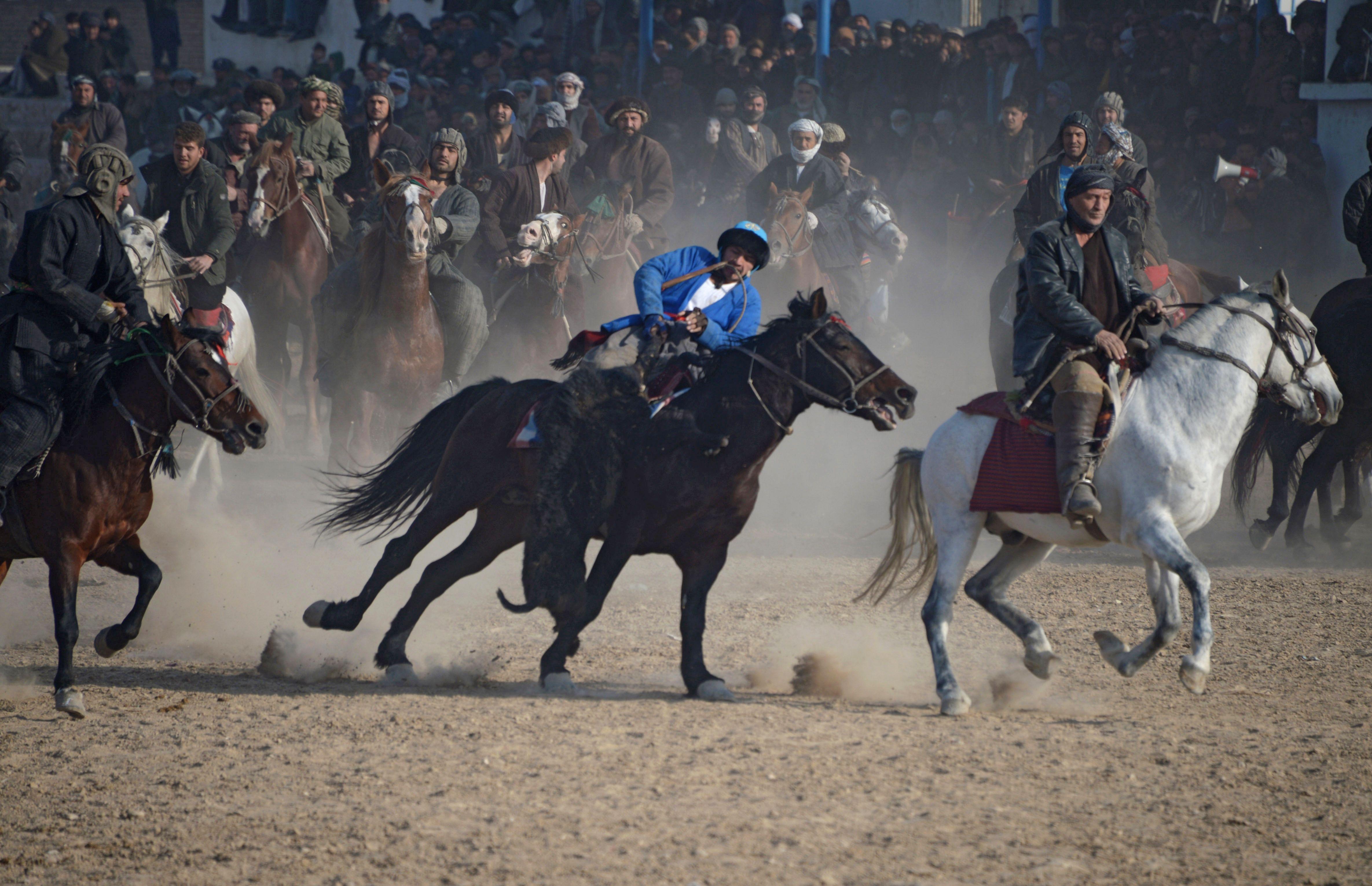 مقاتلو الميليشيات الأفغانية يمتطون الأحصنة لممارسة البوزكاشى