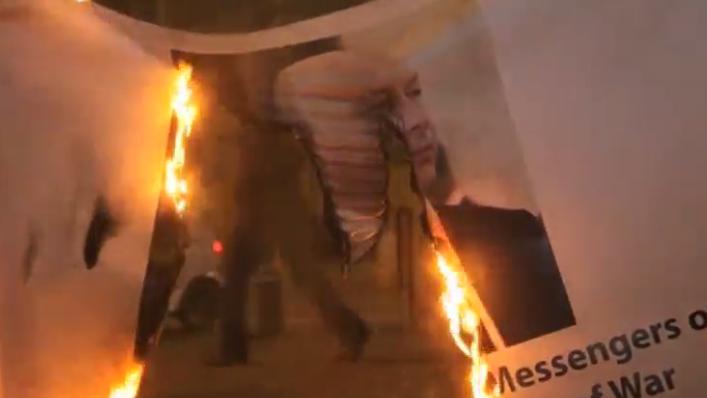 حرق صورة رئيس الوزراء الإسرائيلى نتنياهو